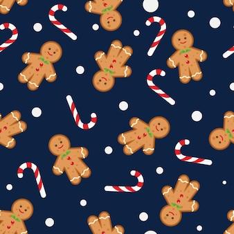 Weihnachtsnahtloses muster mit lebkuchenmann