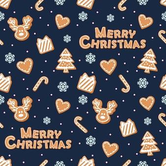 Weihnachtsnahtloses muster mit lebkuchenplätzchen.