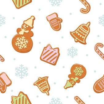 Weihnachtsnahtloses muster mit lebkuchenplätzchen