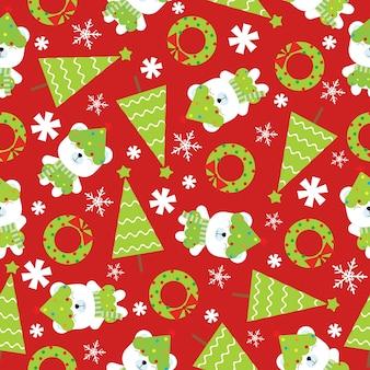 Weihnachtsnahtloses muster mit nettem eisbären und weihnachtsbaum auf rotem hintergrund
