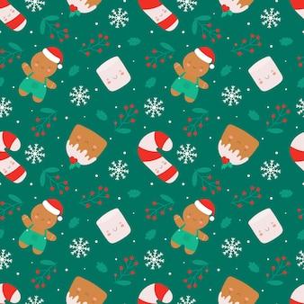 Weihnachtsnahtloses muster mit netten charakteren. weihnachtskuchen, ingwermann, marshmallow und zuckerstange. vektor nahtlose hintergrund im flachen cartoon-stil.