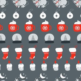 Weihnachtsnahtloses muster mit niedlichem schlafendem tiger und anderen weihnachtselement-vektorillustration