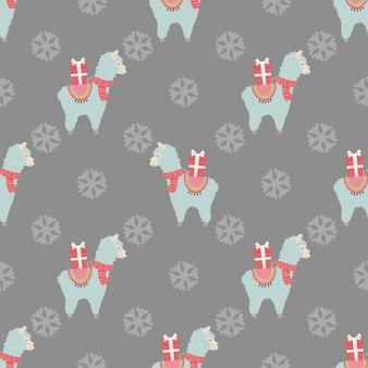 Weihnachtsnahtloses muster mit niedlichen lamas und geschenken weihnachts- und neujahrskonzept