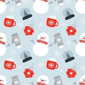 Weihnachtsnahtloses muster mit niedlichen schneemann-schneekugelhandschuhen weihnachtsspielzeug und schneeflocken