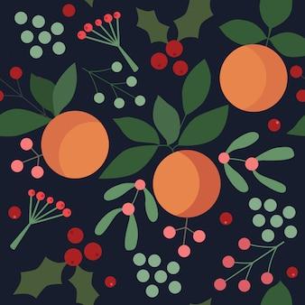 Weihnachtsnahtloses muster mit orangen, beeren und blättern.