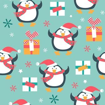 Weihnachtsnahtloses muster mit pinguinen.