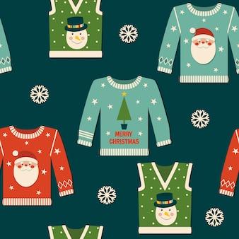 Weihnachtsnahtloses muster mit pullovern.