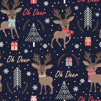 Weihnachtsnahtloses muster mit ren