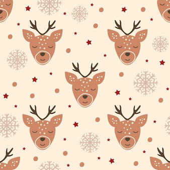 Weihnachtsnahtloses muster mit rentieren und schneeflocken. vektor-illustration.