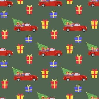 Weihnachtsnahtloses muster mit roten auto-weihnachtsbaumgeschenken