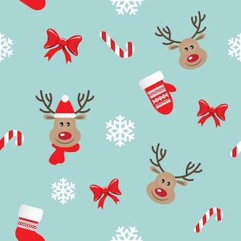 Weihnachtsnahtloses muster mit rotwild