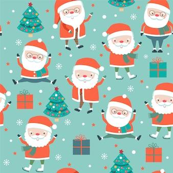 Weihnachtsnahtloses muster mit sankt auf blauem hintergrund.