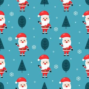 Weihnachtsnahtloses muster mit sankt getrennt auf blauem hintergrund.