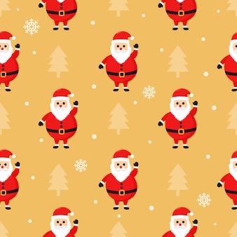 Weihnachtsnahtloses muster mit sankt getrennt auf sahne