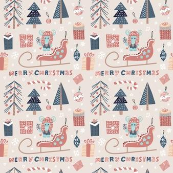 Weihnachtsnahtloses muster mit sankt schlitten, maus, weihnachtsbaum