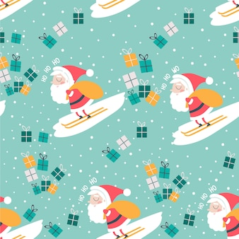 Weihnachtsnahtloses muster mit sankt- und geschenkblauhintergrund.