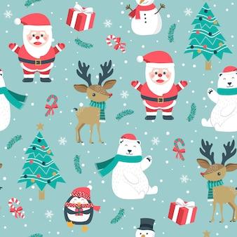 Weihnachtsnahtloses muster mit sankt und ren