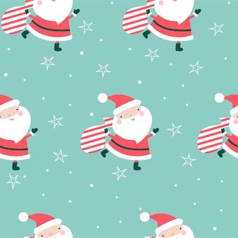 Weihnachtsnahtloses muster mit sankt und taschen.