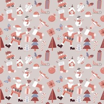 Weihnachtsnahtloses muster mit santa claus, vogel und spielwaren.