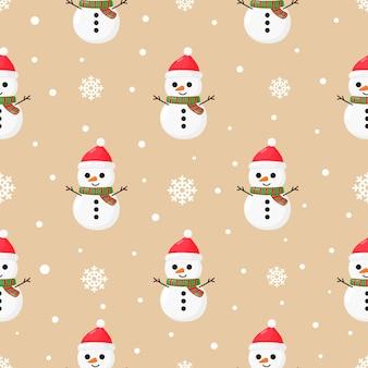 Weihnachtsnahtloses muster mit schneemann