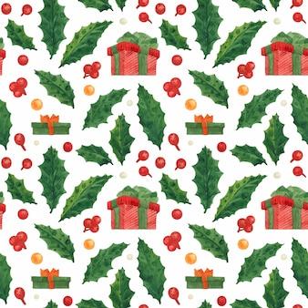 Weihnachtsnahtloses muster mit stechpalme und roter geschenkbox