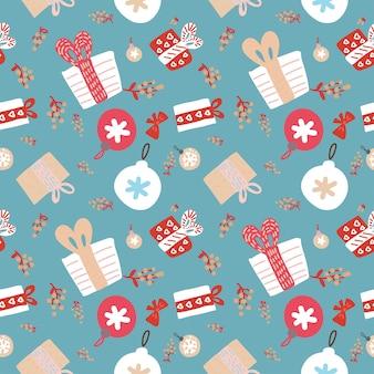 Weihnachtsnahtloses muster mit verzierungen
