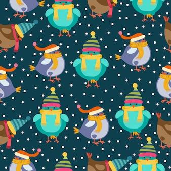 Weihnachtsnahtloses muster mit vögeln