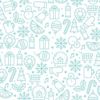 Weihnachtsnahtloses muster mit weihnachtsikonen vektor lokalisierte illustration im entwurfsstil