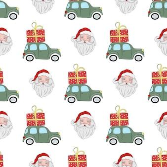 Weihnachtsnahtloses muster mit weihnachtsmann und grünem auto mit einem geschenk auf dem dach