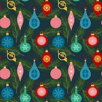 Weihnachtsnahtloses muster mit weihnachtsspielzeug und tannenbaumast-flache vektorillustration