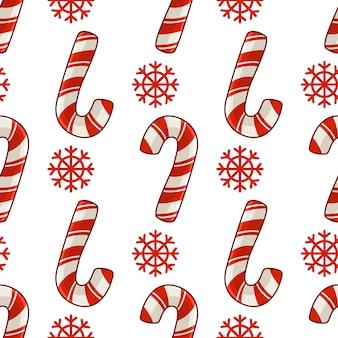 Weihnachtsnahtloses muster mit zuckerstange und schneeflocken, rote farben, endlose beschaffenheit