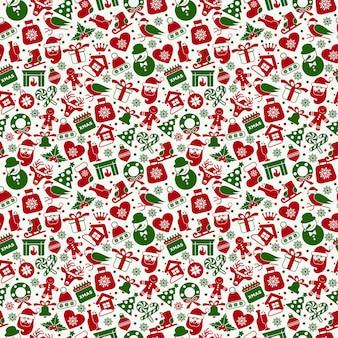 Weihnachtsnahtloses muster von flachen ney jahre ikonen.