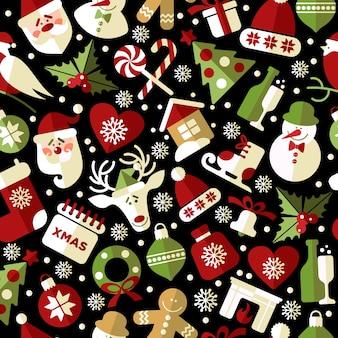 Weihnachtsnahtloses muster von ikonen