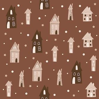 Weihnachtsnahtloses musterdesign mit häusern. vektor-illustration.