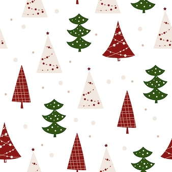 Weihnachtsnahtloses musterdesign mit weihnachtsbaum. vektor-illustration.