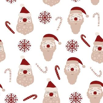 Weihnachtsnahtloses musterdesign mit weihnachtsmännern. vektor-illustration.