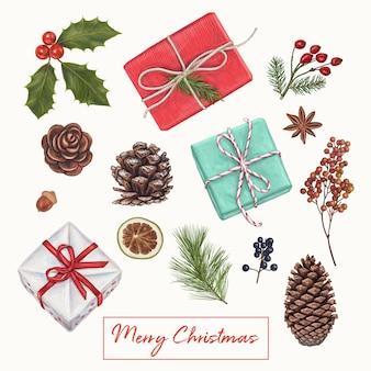 Weihnachtsnette handgezeichnete dekoration