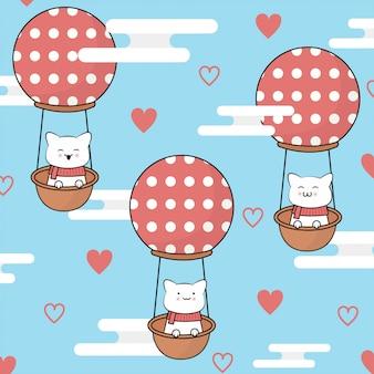 Weihnachtsnette Katzenkarikatur mit Ballon