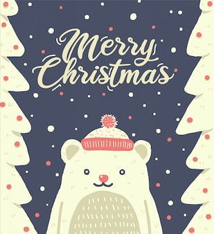 Weihnachtsnetter bär, der sankt-hut trägt