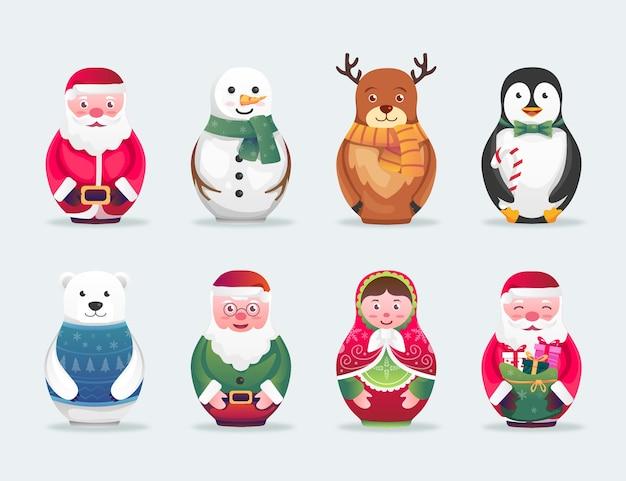 Weihnachtsniedliche charakter-matroschka-illustration