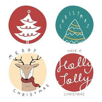 Weihnachtsniedliche karikaturabzeichensammlung