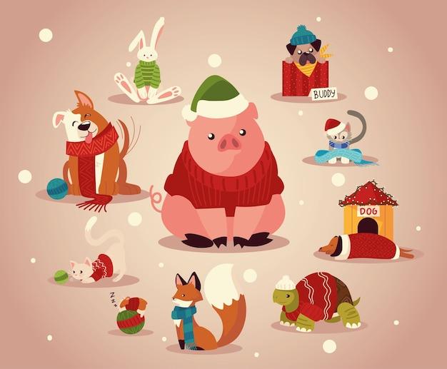 Weihnachtsniedliche tiere mit winterkleidungsmütze und schals