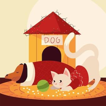 Weihnachtsniedlicher hund und katze mit pullover und hausvektorillustration