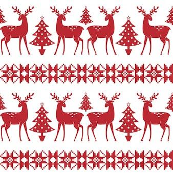 Weihnachtsnordisches nahtloses muster mit bäumen und rotwild.