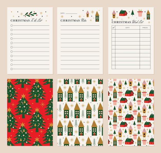 Weihnachtsnotizen und listenvorlage mit back-option-design