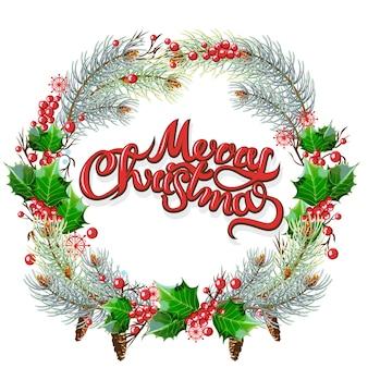 Weihnachtsornamentrahmen. stechpalmen- und tannenzweige mit blattbeeren und -kegeln.