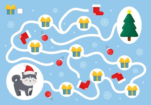 Weihnachtspädagogisches labyrinthspiel mit husky-hund