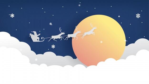 Weihnachtspapier geschnitten am nächtlichen himmel