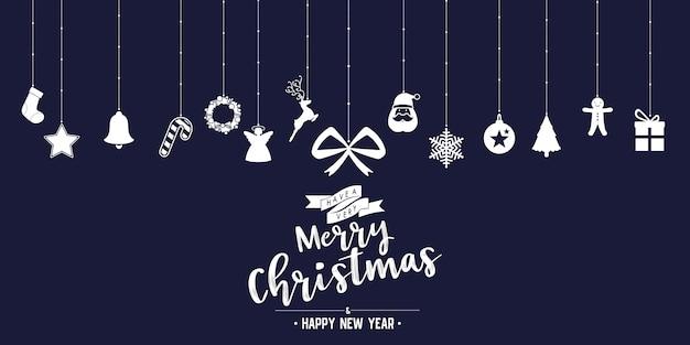 Weihnachtsphasentext und -stern mit sankt-bart und -verzierungen mit symbol entwerfen auf hintergrund
