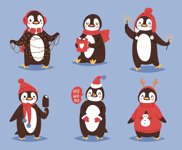 Weihnachtspinguin charakter cartoon niedlichen vogel feiern weihnachten spielerisch glücklich pinguin gesicht lächeln illustration in santa red hat